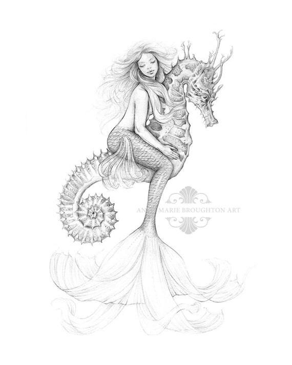 8x10 Inch PRINT Mermaid Riding Seahorse Art Pencil Drawing