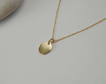 Solid Gold Nugget Necklace Dainty Gold Necklace Gold Nugget Charm 14K Gold Minimalist Necklace