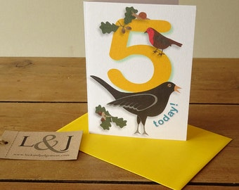 5th birthday card, card for children, childs birthday card, 5 today, happy birthday five, fifth birthday card for nephew or niece, yellow 5