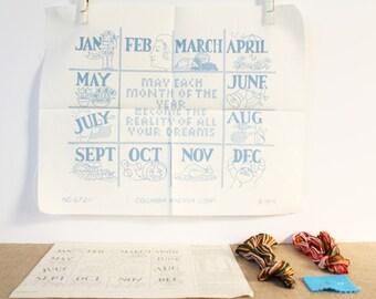 Stamped Hand Embroidery Sampler Kit – 12 Months - 70s / vintage / retro / hippie - Columbia Minerva Pattern