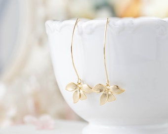 Gold Dangle Earrings. Matte Gold Orchid Flower Long Dangle Earrings. Gold Wedding Bridal Earrings, Bridesmaid Earrings, Gift fot Her