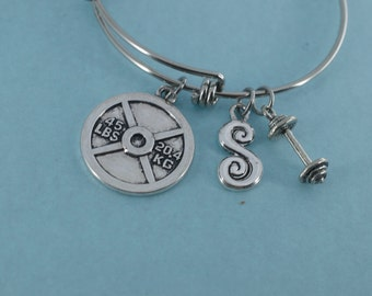 Personal trainer bangle bracelet in stainless steel personalized with your choice of initial.  Personal Trainer Gift.