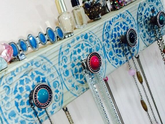Reclaimed wood art /Necklace holder/ hanging jewelry storage organization scarf hanger wall organizer mandalas 5 hand-painted knobs 6 hooks