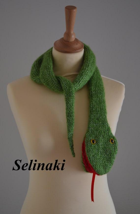 Knit Snake Scarf Shiny Green Animal Scarf