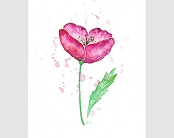 Original watercolor painting Poppy flower wall art Floral minimalist spring home decor Pink fuchsia magenta purple