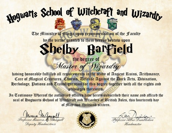 Personalized Harry Potter Diploma Hogwarts School of