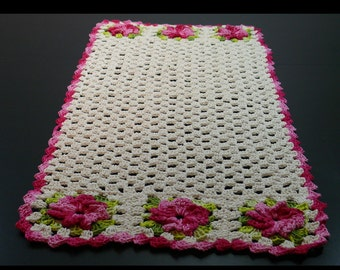 Natural with Pink and Green 3D Flowers Hand Crochet Tablecloth.
