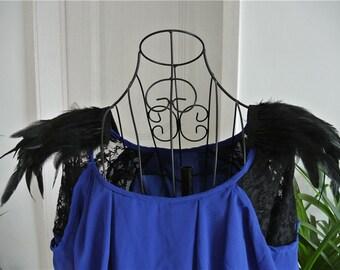 Handmade Black rooster feather epaulette pads Carnival feather shoulder shrug burning man festival epaulettes 20cm x 20cm