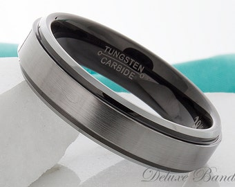 Tungsten Ring Black Silver Wedding Ring Tungsten Carbide 6mm Black Tungsten Wedding Band His Hers Anniversary Ring Promise Ring Comfort Fit