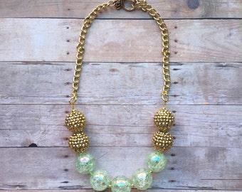 Sparkly Mint & Gold Bubblegum Necklace - Toddler/Girls Necklace
