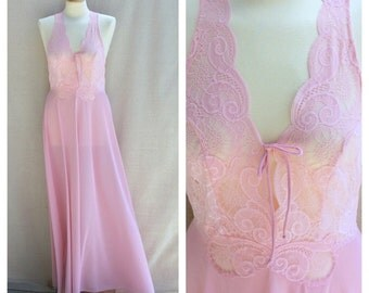 Womens Vintage Pink Nightgown | Pink Lace Plunging Neckline Nylon Nightgown