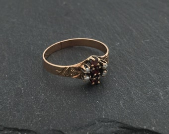 Victorian Garnet and Seed Pearl Rose Gold Ring