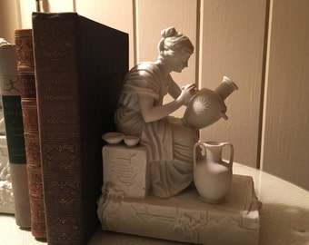 Vintage Arnart White Parrian Figural Bookends