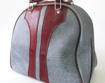 Marbled Gray Bowling Ball Bag with Burgundy Trim