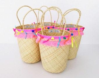 Little girls bag, purse, beach bag, tote,girls bag tassels ,pom poms, ribbons