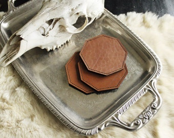 Geometric Leather Coasters