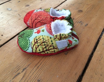 Forest Trees  Print Baby Shoes, Soft Sole Baby Shoes, Toddler slippers, Baby booties