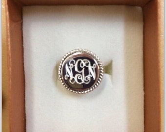 925 Sterling Silver Nautical Rope Monogrammed Round Ring