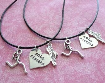 Runner Necklace  Sole Sisters Necklace Set Hand Stamped Running Necklace
