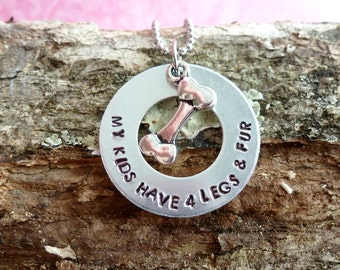 My Kids Have Four Legs, Dog Mom Gifts, Dog Necklace, Dog Bone Charm, Hand Stamped Jewelry