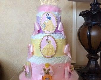 Princess diaper cake/Disney Princess inspires diaper cake/Princess baby shower centerpiece/Gift/Baby Girl diaper cake/Girl baby shower gift