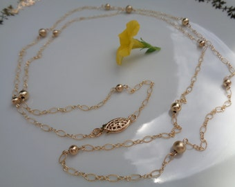 Long gold chain, 585 goldfilled in delicate design with balls