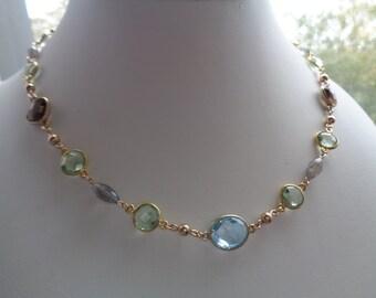 Gemstone chain, 585 gold filled, m. Blue Topaz, Labradorite, Amethyst, smoky quartz