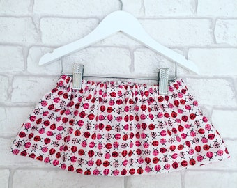 Ladybird Baby Skirt, Fully Lined, Age 9 months, Baby Outfit, Handmade in the UK