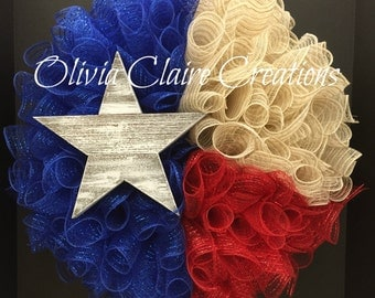Curly Mesh Patriotic or Lone Star Wreath. State of Texas Wreath with Blue, Red and Burlap Deco Mesh and white-washed Wooden Star.