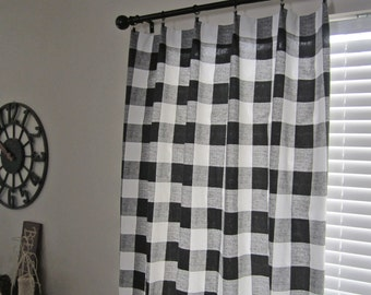 Black Buffalo Check Curtain Panels, Buffalo Plaid Curtains, Lumberjack, Pair of Curtains, Home Decor, Window Covering, Window Treatment