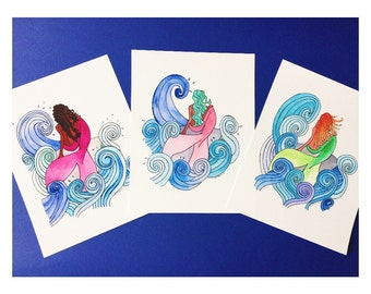 Set of 3 Mermaid Art Prints Special   Home Decor   Nursery Art   Childrens Decor   Gifts for Her   Children's Gifts   Watercolor Art   Gift