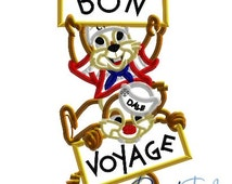 Chip and Dale Bon Voyage Disney Cruise Line - 4x4, 5x7 and 6x10 in 9 formats - Applique - Instant Download - David Taylor Digitizing