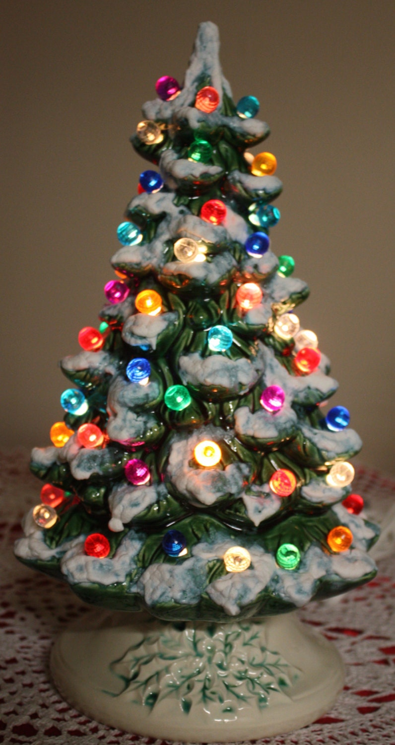 14 Lighted Green Ceramic Christmas Tree with Snow and