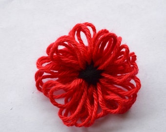Red Remembrance Poppy Flower Pin