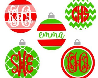 Christmas Ornament digital download cut file for cutting machines - SVG DXF EPS ps Studio3 Studio (monogram fonts sold separately)