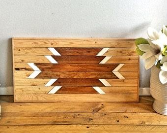 """Reclaimed Wood, Wall Art, Geometric Pattern, Aztec Lath 12""""x24"""" Wall Decor"""