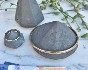 Charcoal Concrete Jewlery Gem Holder Trio Set of Three