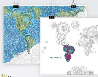 World Map Adults Colouring Prints Pack