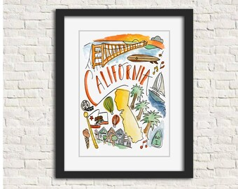 California Wall Art 8x10 in. Handlettered Watercolor Print