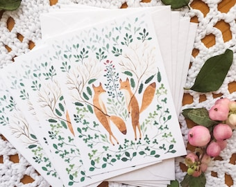 Mini message note cards, fox message cards, forest note cards, woodland message cards set