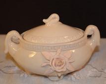 Rose Covered Trinket Dish Vintage Porcelain Dresser Box 3D Rose Embossed Trim Shabby Chic Decor Romantic Trinket Dish Pale Pink Rose