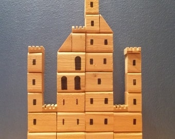 Stackable Wood Block Medieval Castle, with Wood Storage Box