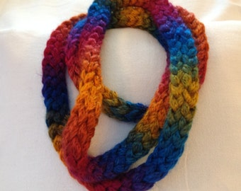 Infinity Skinny Scarves, finger knitted