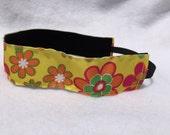 Yellow, Orange, Pink, Green Flower Headband-  Sport Headband- Yellow- Orange- Pink- Flower- 1.5 inch Headband- no slip- Nonslip headband