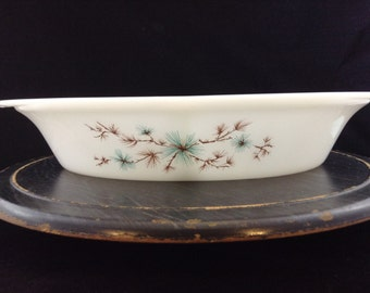 CLEARANCE Glasbake Divided Casserole J-239 Frost Pine