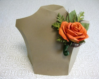 Handmade Paper Autumn Rose Corsage