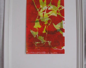 "Bright Yellow and Red-Orange Leaf Gelli Print Size 6"" x 9"""