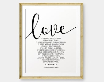 Love is patient, Love is kind, 1 Corinthians 13:4-8, Bible Verse art print, Wedding Art, Christian wall art, Gold Color - Digital Download