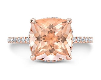 3.80 Ct. Cushion Cut Morganite & Diamond Engagement Ring 14K Rose Gold
