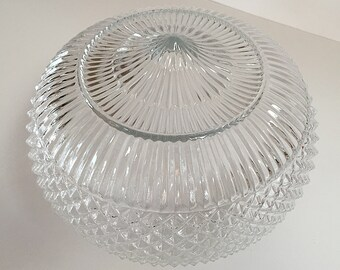 1960s Large Clear Pressed Glass Ceiling Light Fixture Shade Retro Vintage